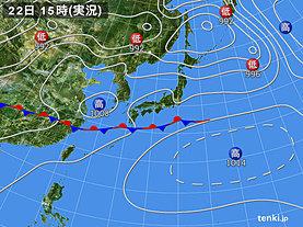 実況天気図(2018年06月22日)