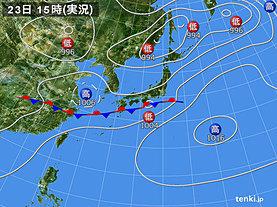 実況天気図(2018年06月23日)