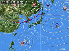 実況天気図(2018年06月30日)
