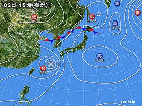 実況天気図(2018年07月02日)