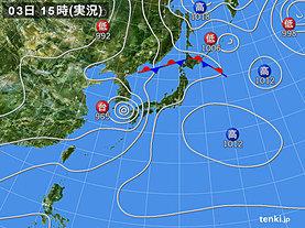実況天気図(2018年07月03日)