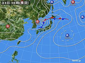 実況天気図(2018年07月04日)