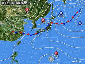 実況天気図(2018年07月07日)