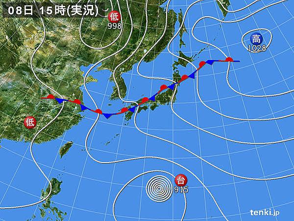 実況天気図(2018年07月08日)