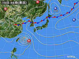 実況天気図(2018年07月10日)