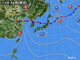 実況天気図(2018年07月11日)