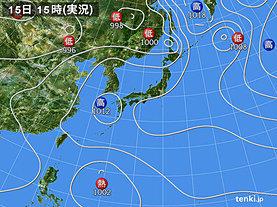 実況天気図(2018年07月15日)