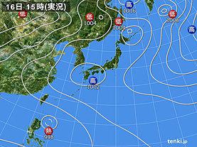 実況天気図(2018年07月16日)