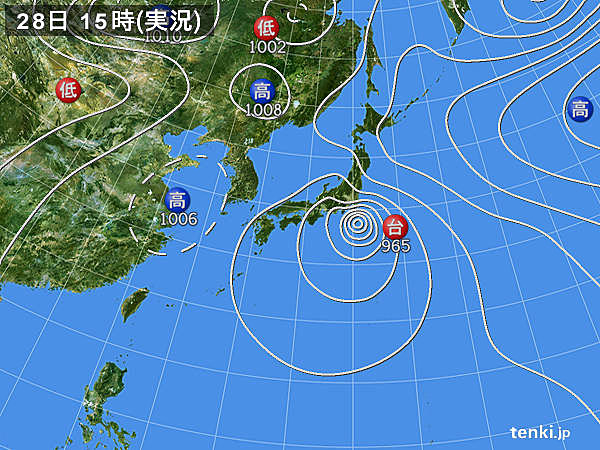 実況天気図(2018年07月28日)