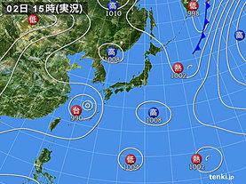 実況天気図(2018年08月02日)