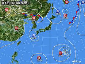 実況天気図(2018年08月04日)