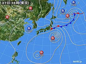 実況天気図(2018年08月07日)