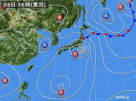 実況天気図(2018年08月08日)