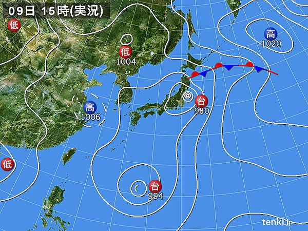 実況天気図(2018年08月09日)