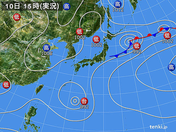 実況天気図(2018年08月10日)
