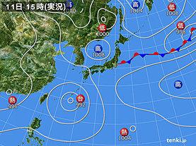 実況天気図(2018年08月11日)