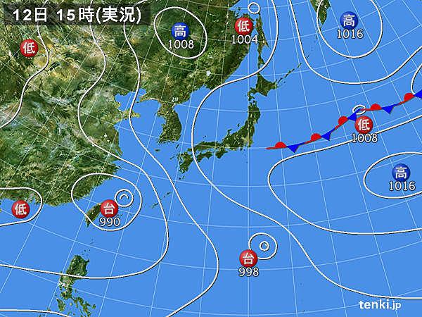 実況天気図(2018年08月12日)