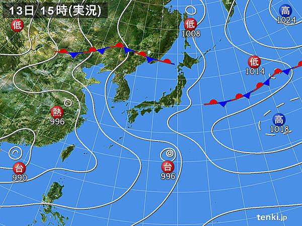 実況天気図(2018年08月13日)