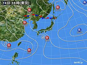 実況天気図(2018年08月14日)
