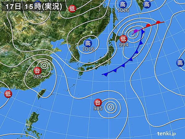実況天気図(2018年08月17日)