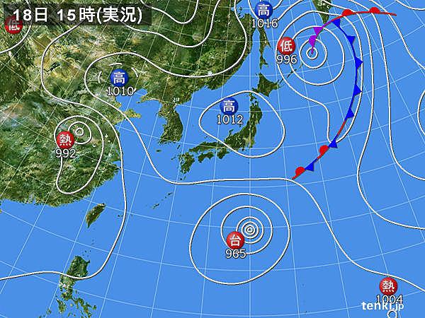 実況天気図(2018年08月18日)