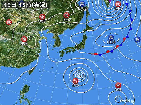 実況天気図(2018年08月19日)
