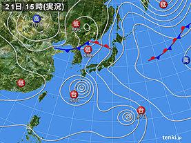 実況天気図(2018年08月21日)