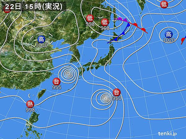 実況天気図(2018年08月22日)