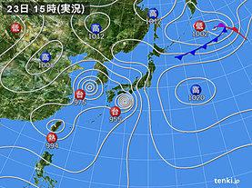 実況天気図(2018年08月23日)