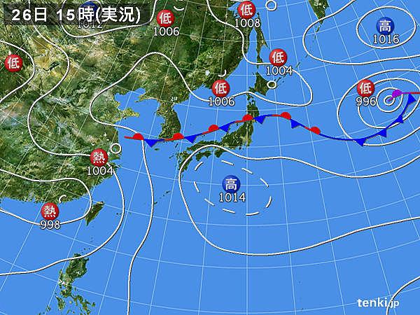 実況天気図(2018年08月26日)