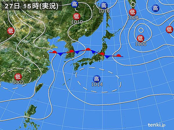 実況天気図(2018年08月27日)