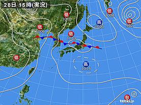 実況天気図(2018年08月28日)