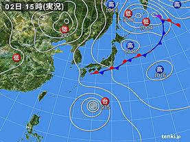 実況天気図(2018年09月02日)