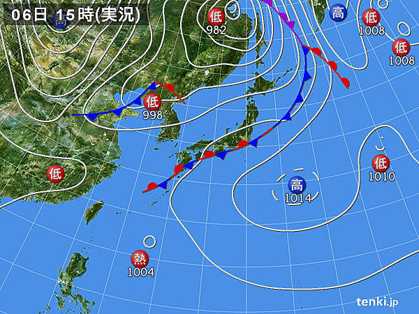 実況天気図(2018年09月06日)