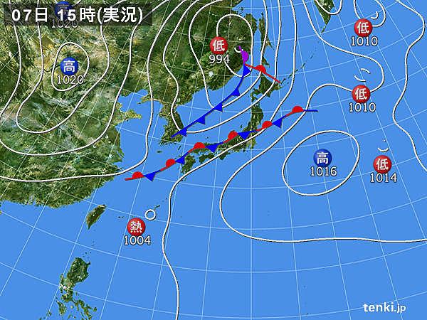 実況天気図(2018年09月07日)