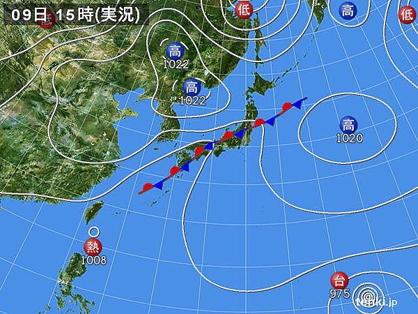 実況天気図(2018年09月09日)