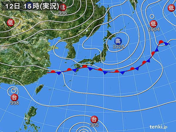 実況天気図(2018年09月12日)
