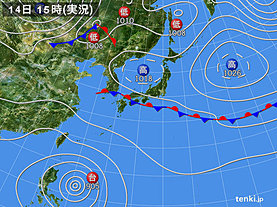 実況天気図(2018年09月14日)