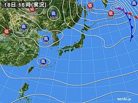 実況天気図(2018年09月18日)