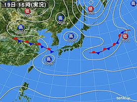 実況天気図(2018年09月19日)