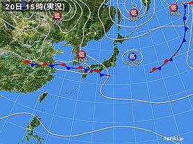 実況天気図(2018年09月20日)