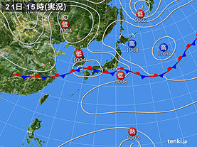 実況天気図(2018年09月21日)