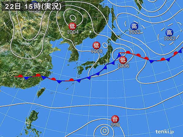 実況天気図(2018年09月22日)