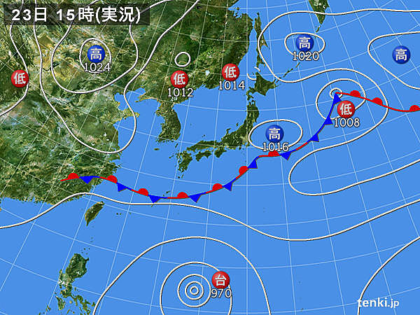 実況天気図(2018年09月23日)