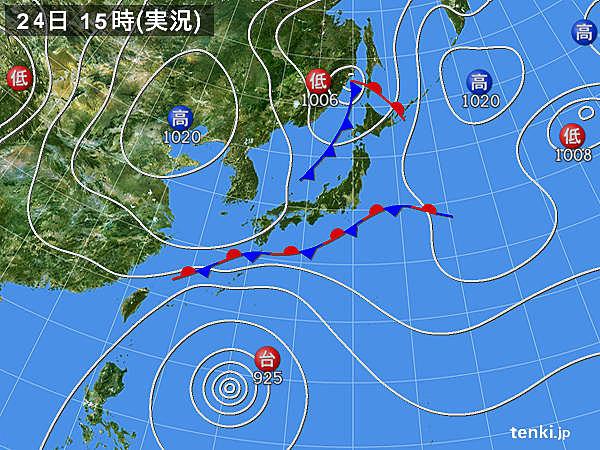 実況天気図(2018年09月24日)