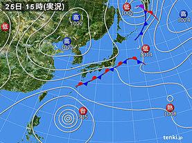 実況天気図(2018年09月25日)
