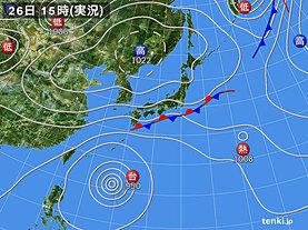 実況天気図(2018年09月26日)