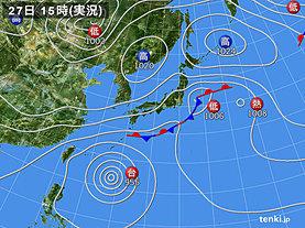 実況天気図(2018年09月27日)