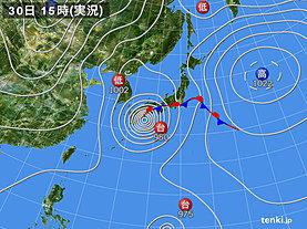 実況天気図(2018年09月30日)