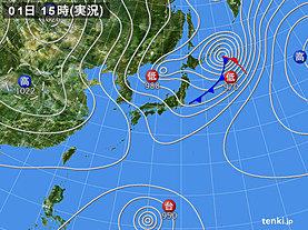 実況天気図(2018年10月01日)